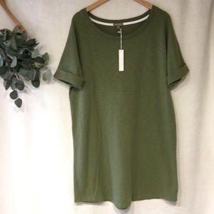NWT Lilla P (Anthro) olive green t-dress, XL